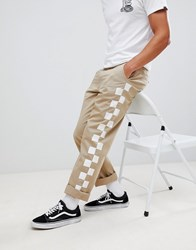 Vans Authentic Pro Chinos With Checkerboard Side Taping In Beige Vn0a31jlrqx1