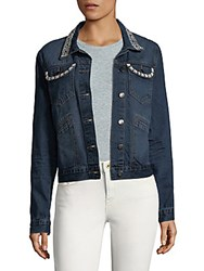 Saks Fifth Avenue Cotton Faux Pearl Jacket Pacific