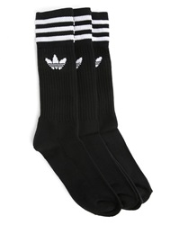 Adidas 3 Pairs Of Black Crew Socks