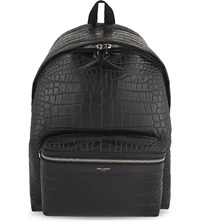 Saint Laurent Croc Embossed Leather Backpack Black