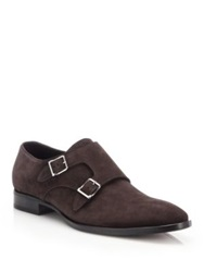 Ralph Lauren Gavrie Suede Double Monk Strap Shoes Dark Brown