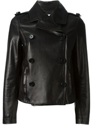 Red Valentino Short Leather Jacket Black