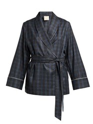 Morpho Luna Amelie Checked Wool Robe Grey Print