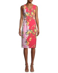 David Meister Two Tone V Neck Sleeveless Dress Red Pink