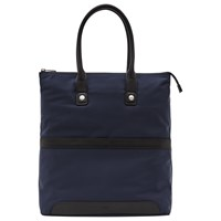 Reiss Ten Contrast Leather Trim Tote Bag Navy