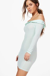 Boohoo Petite Elouise Frill Bardot Bodycon Dress Mint