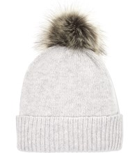 Helen Moore Pom Pom Cashmere Beanie Hat Light Grey