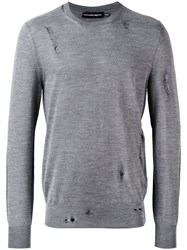 Alexander Mcqueen Distressed Crew Neck Sweater Men Silk Wool Xl Grey