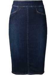 Citizens Of Humanity Denim Pencil Skirt Blue