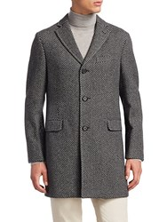 Saks Fifth Avenue Collection Unconstructed Wool Topcoat Black Grey