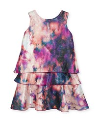 Zoe Watercolor Tiered Shimmer Dress Size 4 6X Pink