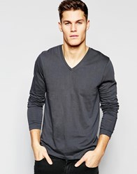 Asos Long Sleeve T Shirt With V Neck In Washed Black Black