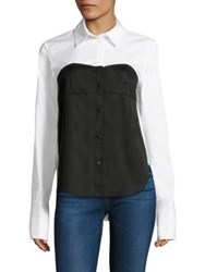 Tibi Satin Poplin Bustier Shirt White Black
