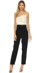 Cynthia Rowley Strapless Jumpsuit With Draped Bow Top Black Off White