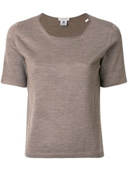 Le Tricot Perugia Round Neck T Shirt Virgin Wool Xl Brown