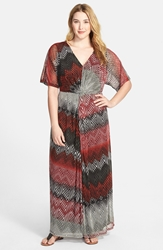 London Times Twist Front Basket Weave Print Maxi Dress Plus Size Coral Multi