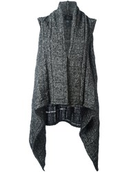 Lost And Found Ria Dunn Draped Sleeveless Cardi Coat Grey
