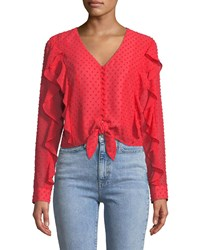 Bardot Dobby Tie Front Frill Top Red