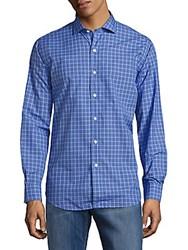 Lauren Ralph Lauren Check Print Cotton Shirt Blue Royal