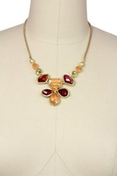 Saachi Ruby Matte Gold Tone Beaded Flower Necklace Multi