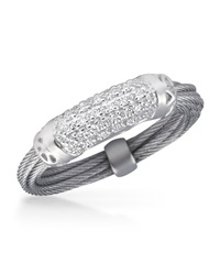 Alor Pave Diamond Bar Id Ring Gray