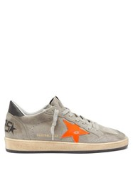 Golden Goose Ball Star Distressed Suede Trainers Grey Multi
