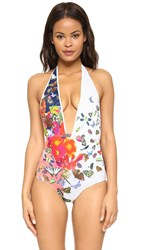 Clover Canyon Cascading Butterflies Swimsuit White