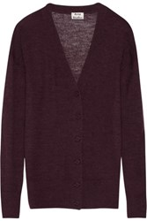 Acne Studios Rhoda Oversized Melange Alpaca And Merino Wool Blend Cardigan Burgundy