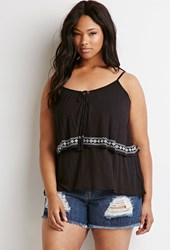 Forever 21 Plus Size Diamond Embroidered Flounce Cami