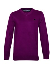 Raging Bull Big And Tall V Neck Cotton Cashmere Jumper Purple