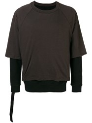 Unravel Project Layered Sweatshirt Brown