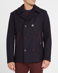 Armor Lux Navy And Burgundy Contrast Pea Coat Blue