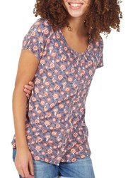 Fat Face Tansy Sketched Geo Top Vintage Blue