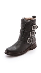 Frye Valerie Shearling Strappy Boots Black