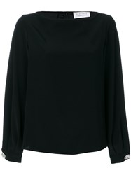 Gianluca Capannolo Gathered Cuffs Longsleeved Blouse Women Polyester Triacetate 44 Black