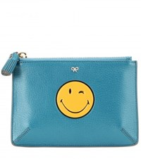 Anya Hindmarch Wink Small Loose Pocket Leather Pouch Blue