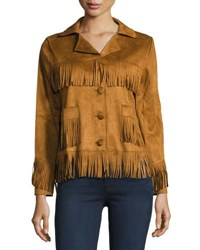 Raga Saddle Up Faux Suede Jacket Medium Brown