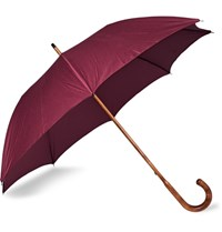 Anderson And Sheppard Cotton Twill Maplewood Handle Umbrella Burgundy