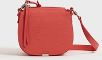 Allsaints Captain Lea Leather Small Round Crossbody Bag Coral Pink