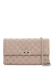 Valentino Spike Embellished Leather Clutch Poudre