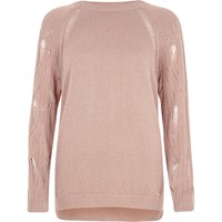 River Island Light Pink Ladder Raglan Sleeve Jumper