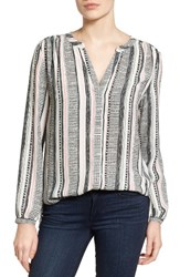 Nydj Women's Band Collar Blouse St Germaine Stripe Natural