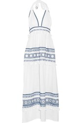 Dodo Bar Or Embellished Cotton Gauze Halterneck Maxi Dress White
