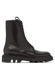 Givenchy Lace Up Leather Military Boots Black