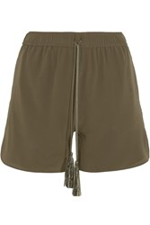 Zeus Dione Paxi Silk Crepe De Chine Shorts Army Green