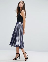 Warehouse Metallic Pleated Midi Skirt Silver Black