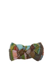 Missoni Plaited Striped Knitted Mesh Headband Green