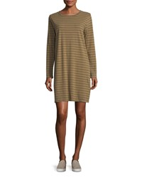 Current Elliott The Long Sleeve Striped T Shirt Dress Green Brown