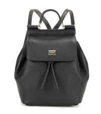 Dolce And Gabbana Sicily Leather Backpack Black