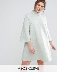 Asos Curve Pearl Shift Mini Dress With Fluted Sleeve Mint Green